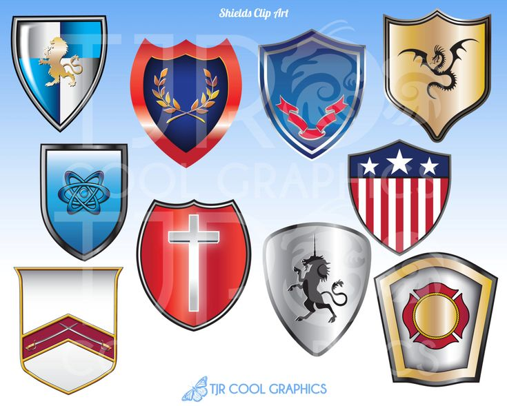 Medieval Shields, Printable Digital Realistic Clip Art, Educational, Teachers…