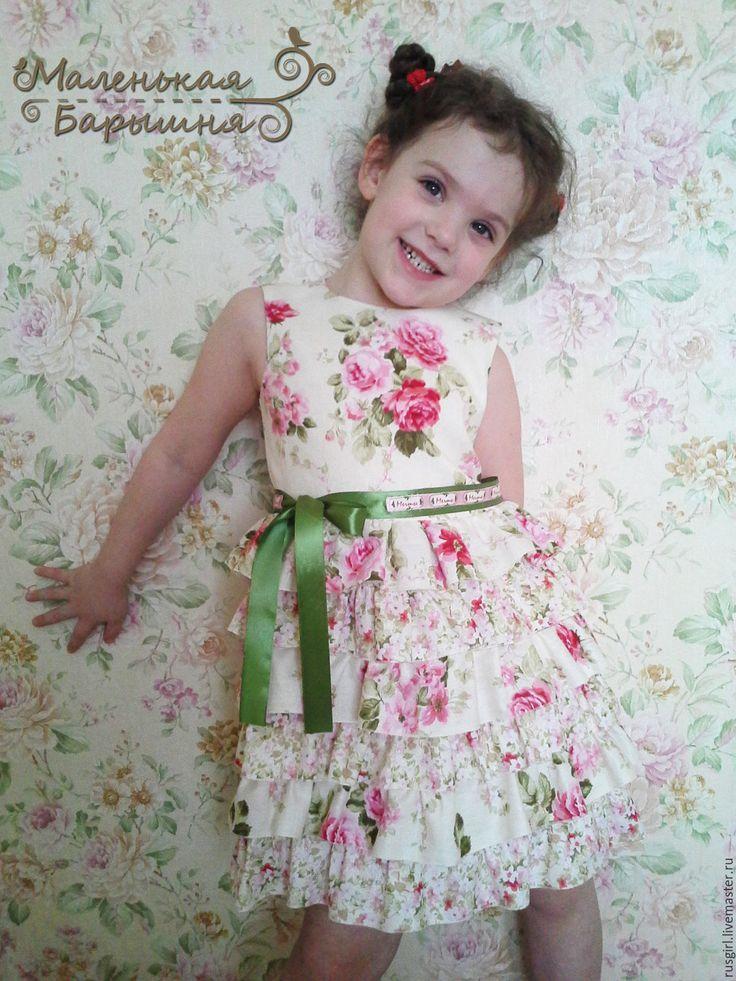 """Купить Платье для девочки """"Алиса"""" - комбинированный, цветочный принт, цветочный узор, Платье нарядное"""