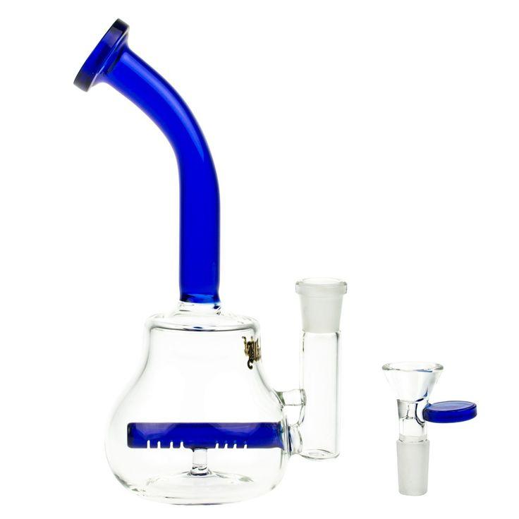 Black Leaf Glass Bubbler with Slitted Inline Perc | 14.5mm - Blue - Herb Bowl Included