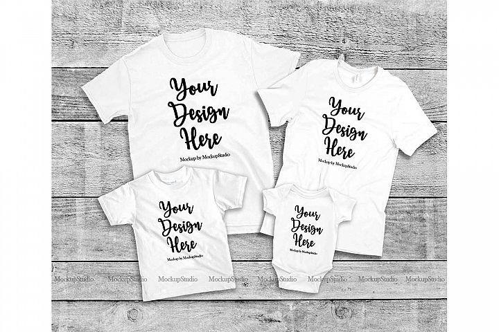 Download Matching Family 4 White T Shirts Mockup Parents Kids Set 184701 Clothing Design Bundles Shirt Mockup Tshirt Mockup Design Mockup Free