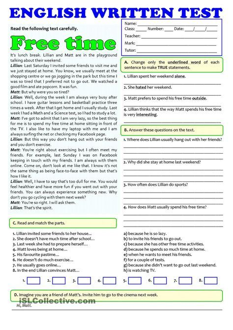 FREE TIME ACTIVITIES - TEST (A1-A2)