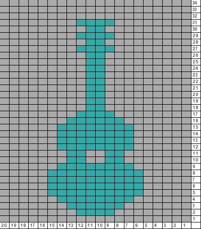 Tricksy Knitter Charts: tiny guitar