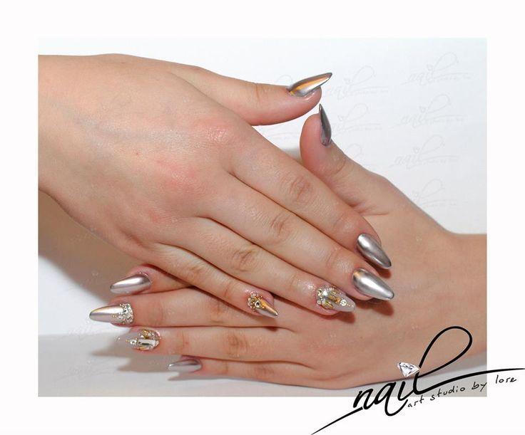 nails nail art chrome metallic swarovsky stone trend 2015 manicure
