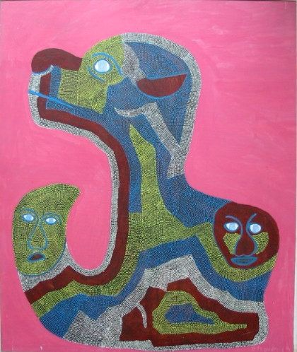 Vintage Haitian Vodou/Spirits Original Painting by St. Jean ST. JUSTE, Saint Soleil School 1989/Art