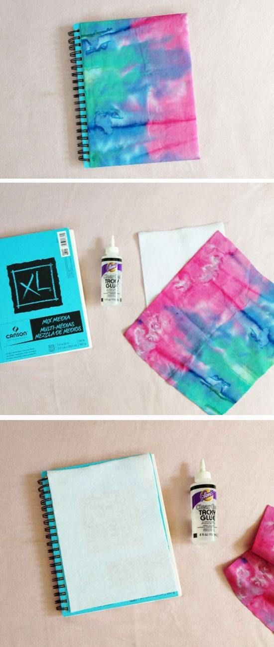 Fabric Covered Notebook | 15 Easy DIY Tie Dye Projects Ideas that will bring out your inner hippie!