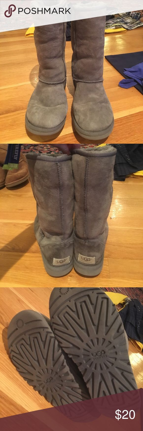 Women's Grey Uggs Grey Uggs in good condition. Slightly faded and worn. Uggs Shoes