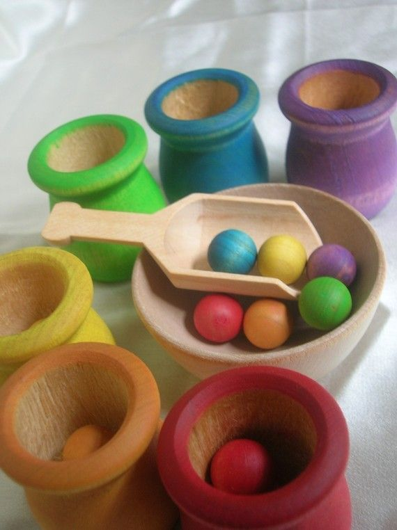 """(Dr. Montessori would not call this a """"TOY"""", it would be """"WORK"""" or """"MATERIALS"""" )Montessori Toy Rainbow Matching and Sorting Game in a Tin Box. This may be purchased on ecovolvenow.com."""