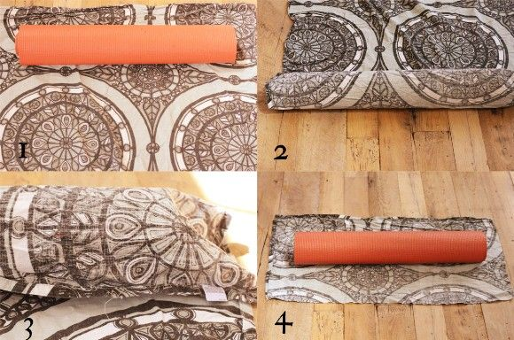 DIY yoga mat bag - must do this, saves money and I bet I could find a skirt with a great pattern at the thrift store to use as fabric - but I'd like to add a couple pockets for keys, cards, phone, etc.
