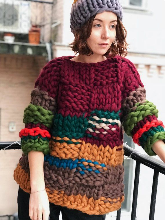 Super Chunky pullover , Airy Cardigan, Super Trendy, Warm sweater , Hand Knit Ja…