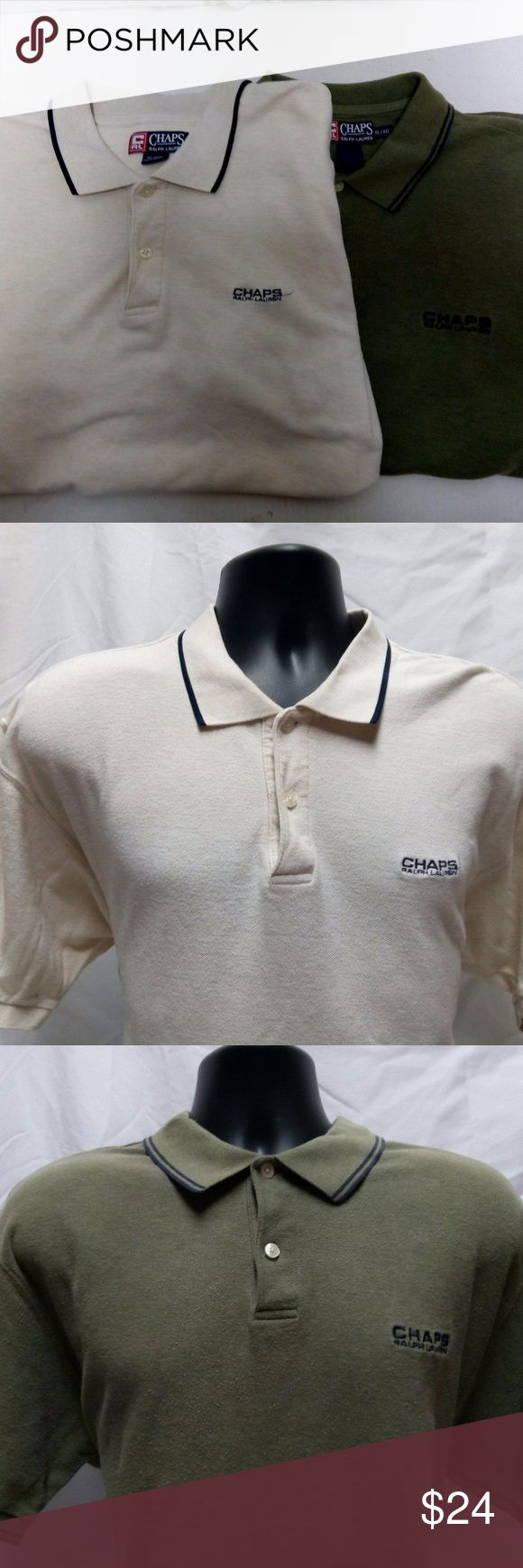 Chaps Ralph Lauren Polo Shirts Lot of 2 XL Brand: Chaps Ralph Lauren   Style: Polo Shirt  Condition: This item is used but shows no signs of tears, rips, or stains unless otherwise noted. It is overall in wonderful condition and can be purchased at a fraction of the regular price!  Size: XL  Measurements:  White/Cream:  Chest- 48 Length- 29 1/2  Green:  Chest: 47 Length- 48 1/2 Ralph Lauren Shirts Polos