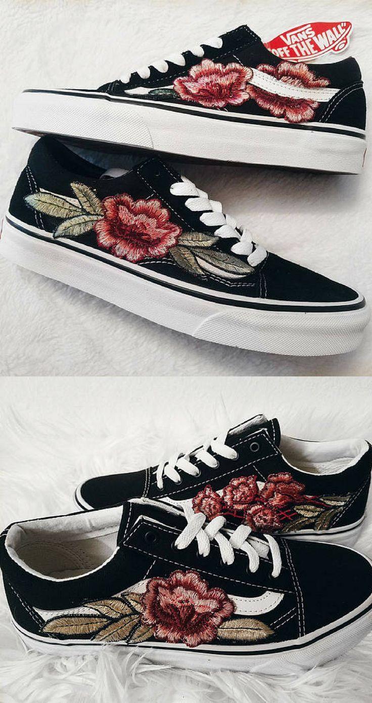 110 LOW TOP Unisex Custom Rose Floral Embroidered Patch Vans Old-Skool  Sneakers. Custom Rose Floral Embroidered Patch Vans Old Skool (Lo… 12a4c5b1f