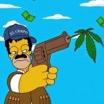 """El artista y activista Alexsandro Palombo realizó una serie de imágenes en las que muestra a Homero Simpson como Joaquín """"El Chapo"""" Guzmán."""