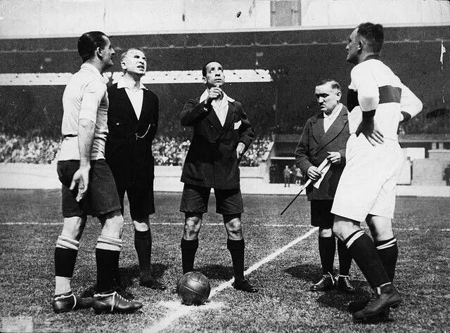 Uruguay 4 Germany 1 in 1928 in Amsterdam. The captains meet before the Olympic Games clash in the Group Stage.
