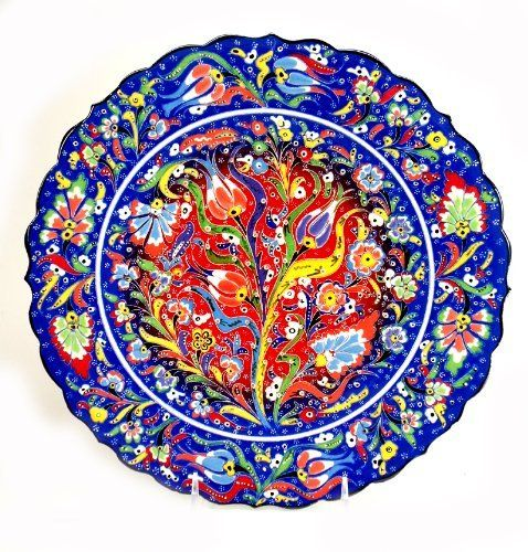 Handpainted Turkish Ceramic Plate-12inch-navy by Nazar Turkish Imports. $75.00. Decoration use or dry food items only. Handwash with care.. Please keep in mind these are all hand painted ceramic plates and inside colors or the pattern might be little bit different than the picture shown here.. Hand painted ceramic plate from Kutahya/Turkey.. We ship from California, USA.. Hand painted ceramic plate from Kutahya/Turkey. Diameter: 12 inches