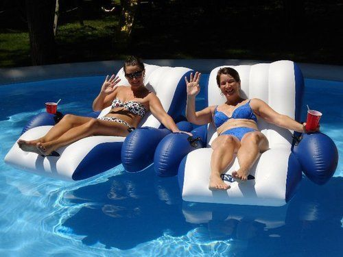 NEW Floating Recliner Chair Floater Lounge Float Swimming Pool Party Lake Tubing