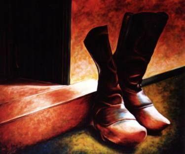 "Saatchi Art Artist Dan Civa; Painting, ""Farmers old wood boots"" #art"