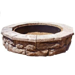 Fire pit: Fire Pits, Round Fire, Brown Round, Pit Kits Fsfpb, Stones Brown, Fossils Stones, Fire Ring, Stones Firepit, Backyards
