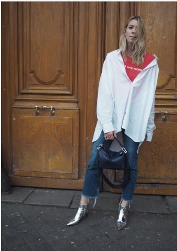 Use an extra-large white button-up as a layering piece by styling it over a T-shirt and pair of jeans. #fashion #style #dress #cloth For more info check out: https://www.newstylecanada.com/