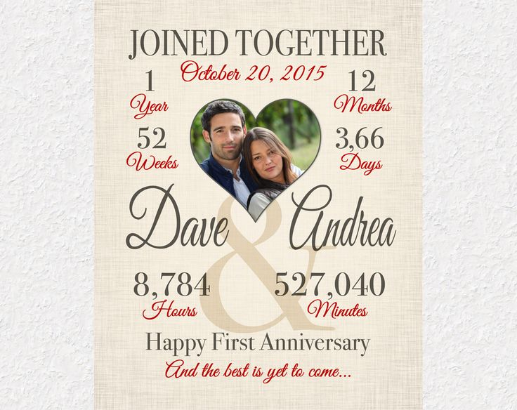 One Year Anniversary Gift Print Personalized Wedding Paper 1