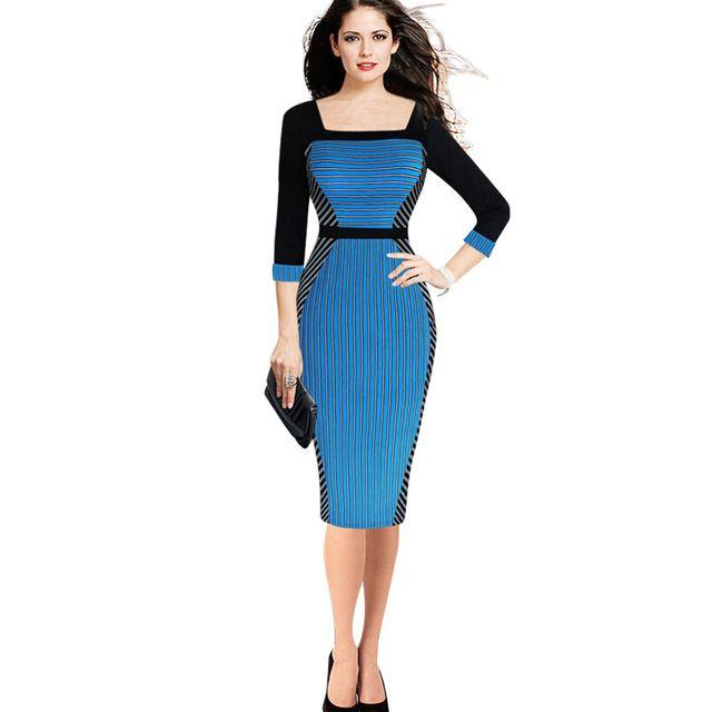 2015 Autunno Donne Vestito Aderente A Righe Collare Quadrato Manicotto Dei Tre Quarti Indossare Al Lavoro Matita Abiti plus size abbigliamento donna