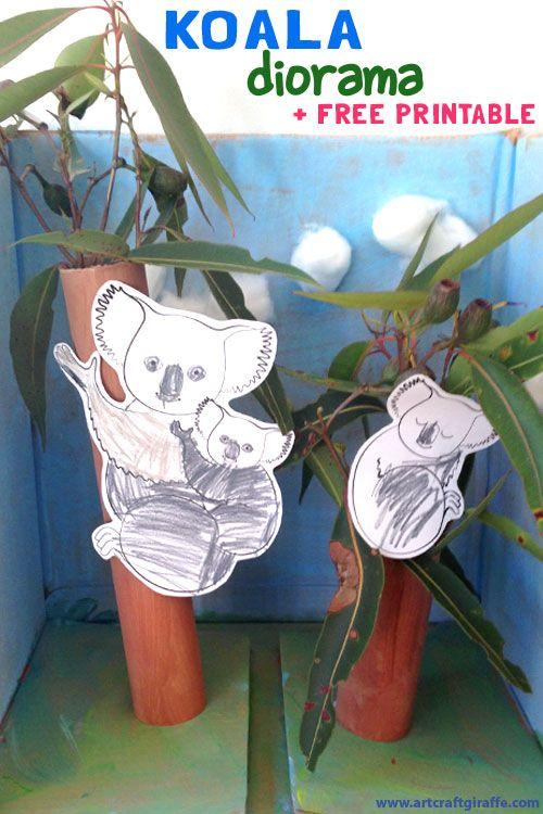 "Koala Diorama- Colour, Paint & Craft + Printable by the Art & Craft Giraffe- www.artcraftgiraffe.com. Inspired by the ""Hello Meerkat!"" Interactive Picturebook App for 1-5 year olds- http://www.tinytwigastudios.com.au/hello-meerkat!.html"