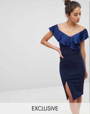 9b2ded553108 Silver Bloom Off Shoulder Frill Midi Dress With Split Ruffle Dress