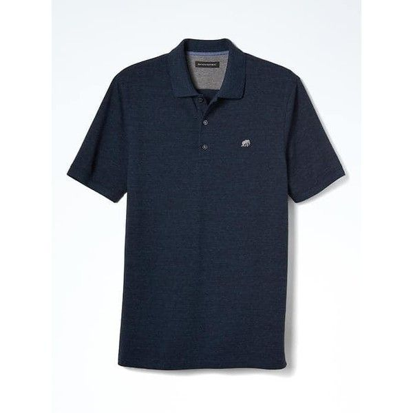 Banana Republic Mens Solid Pique Polo ($34) ❤ liked on Polyvore featuring men's fashion, men's clothing, men's shirts, men's polos, hague blue, mens embroidered shirts, mens polo collar shirts, banana republic mens shirts, mens navy blue polo shirts and mens polo shirts