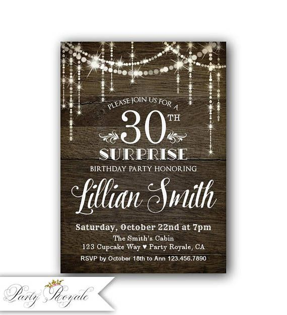 30th Surprise Birthday Invitation Surprise Party Invitation