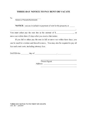 Fillable THREE-DAY EVICTION NOTICE Fill Online, Printable ... - 5 day eviction notice