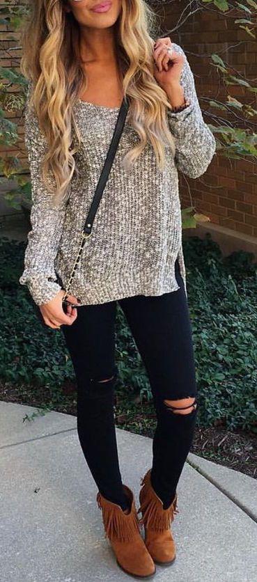 #fall #fashion / camel booties + knit