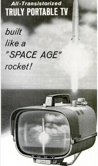 """Built like a Space Age Rocket!"":Sony Portable TV Model 8-301 Advertisement, 1962"
