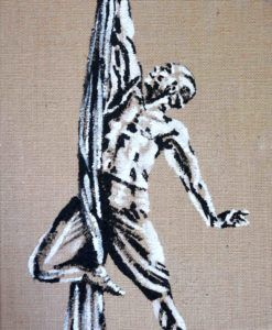 'Reaching Higher': Portrait of Thai Lam on aerial silks, hessian canvas - the art of flying