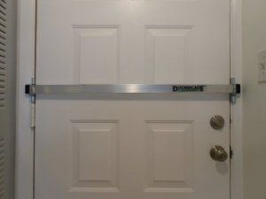 The Doorricade Locking System is effective and installs in minutes. Heavy duty brackets swing away when not in use. To use simply swing the brackets forward and put the bar in place. Your door is now secure. Doorricade is a patent pending product.