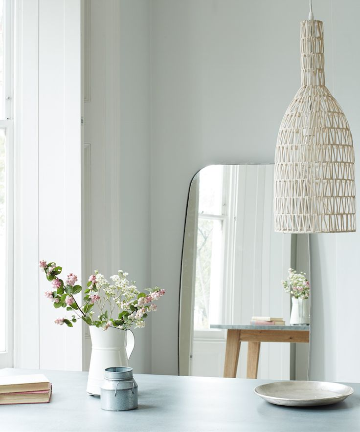 Loaf's blonde wicker Stringer pendant light in this Scandi kitchen snap