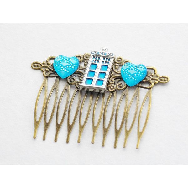 Tardis Hair Clip Timelord Hair Clip Dr Who Hair Comb Doctor Who Tardis... ($35) ❤ liked on Polyvore featuring accessories, hair accessories, silver, hair clip comb, hair clip accessories, blue fascinator, blue hair clips and fancy hair clips
