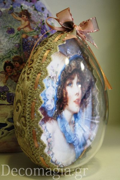 Egg with a lady! decoupage