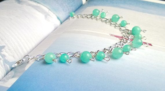 #Natural #gemstone #bracelet #Aqua #Amazonite by @AnnasCJHM on #Etsy #jewelry #turquoise #silver #chain