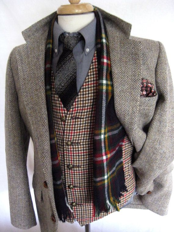 Vintage Harris Tweed Herringbone jacket blazer size 40 by TackTown, $69.99