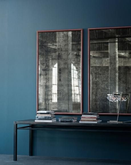 Crosby mirror, featuring gesso and burnished bole frame with mercury glass mirror.    OCHRE accessories design