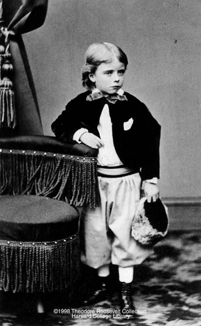 """Four year old """"Teedie"""" Theodore Roosevelt in 1862. TR suffered greatly from asthma causing him to be sick frequently."""