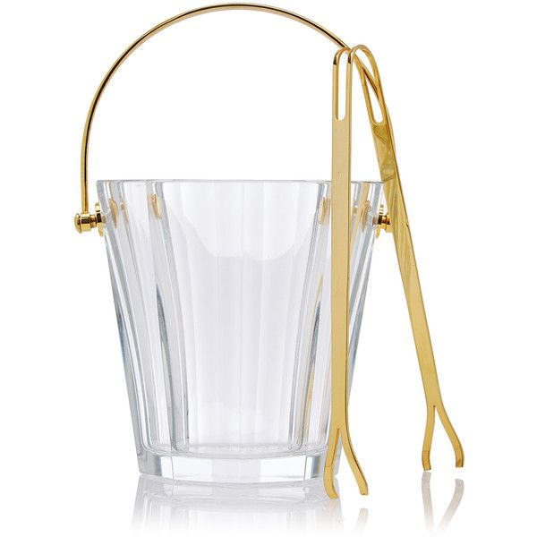 Mantiques Modern     Baccarat Crystal Ice Bucket With Original Tongs (€1.045) found on Polyvore featuring home, kitchen & dining, bar tools, gold, modern ice bucket, crystal ice bucket, crystal wine bucket and crystal champagne bucket