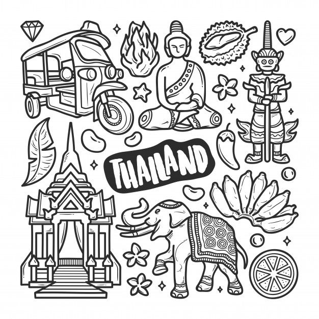 Download Thailand Icons Hand Drawn Doodle Coloring For Free Doodle Coloring Travel Doodles How To Draw Hands