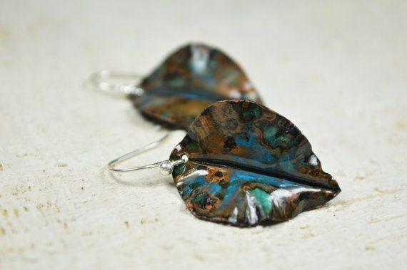 Earrings Copper leaf copper leaves foldforming copper by Violanima