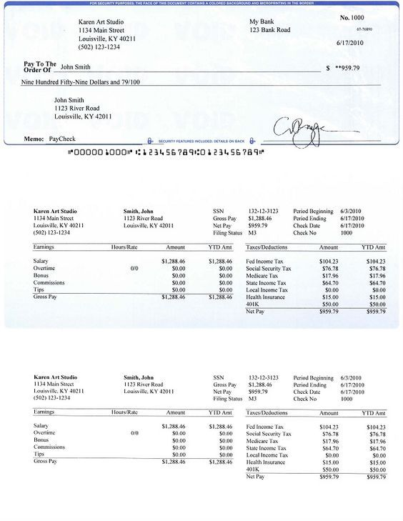 Free Paycheck Stub Template | check on top format payroll check printed by ezpaycheck payroll ...