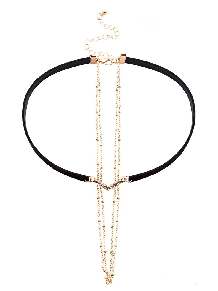 Black Faux Leather Layered Chain Rhinestone Choker Necklace — 0.00 € color: Black size: None