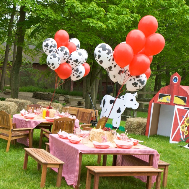 Love The Balloon Centerpieces Tied To Hay