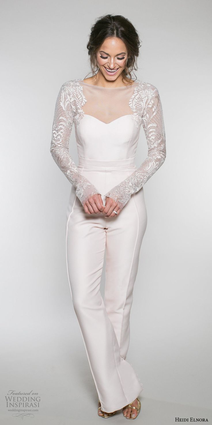 heidi elnora fall 2017 bridal long sleeves sheer boat neckline sweetheart neckline simple wedding pants lace back (olivia jane) mv