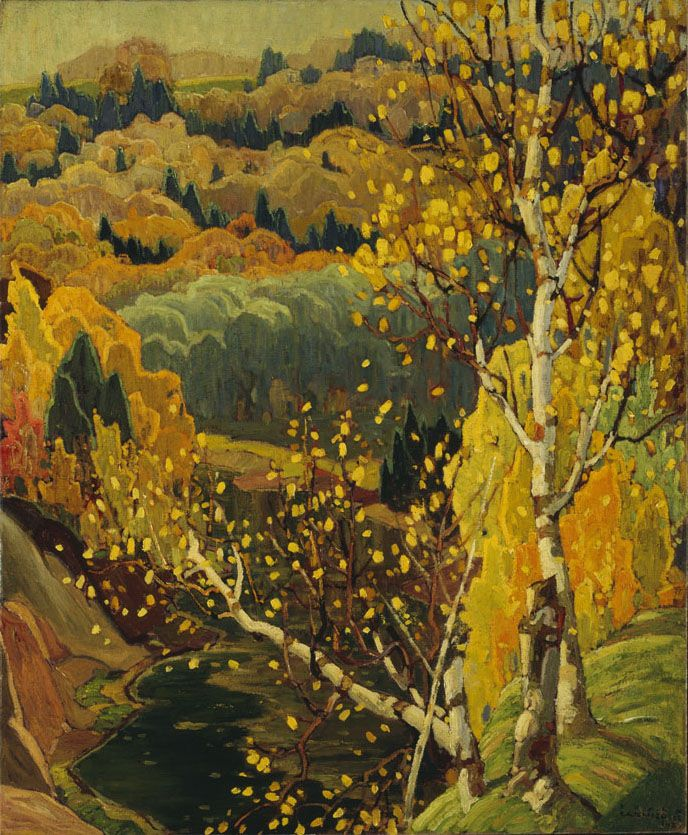 Franklin Carmichael (1890 - 1945), October Gold, 1922 oil on canvas, 119.5 x 98 cm, Gift of the Founders, Robert  and Signe McMichael, 1966.16.1