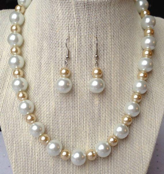 Champagne Pearl Bridal Necklace Wedding by CherishedJewelryCo