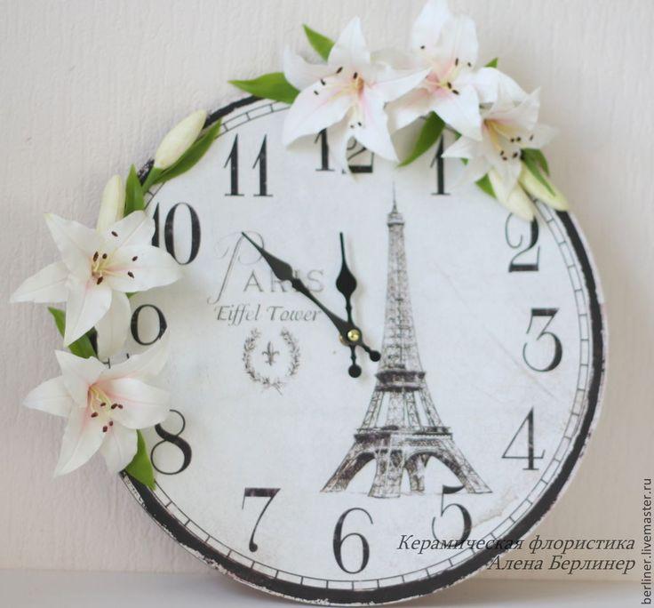 Купить Французские мотивы - белый, лилии, лилии ручной работы, лилии из полимерной глины, часы